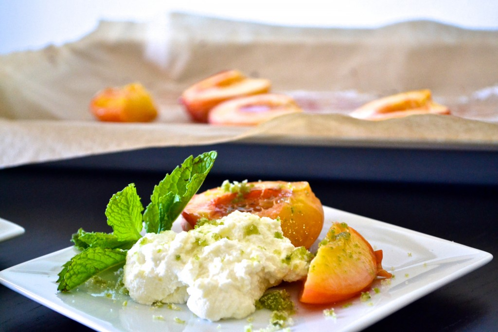 roasted peaches + ricotta